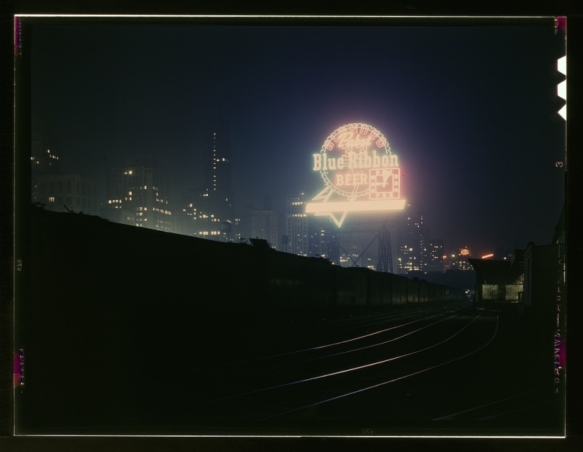 Title: Illinois Central R.R., freight cars in South Water Street freight terminal, Chicago, Ill. Creator(s): Delano, Jack, photographer Date Created/Published: 1943 April Medium: 1 transparency : color. Summary: Photograph shows Pabst Blue Ribbon neon sign. Rights Advisory: No known restrictions on publication.